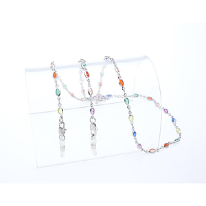 crystal stone chain rhodium plated